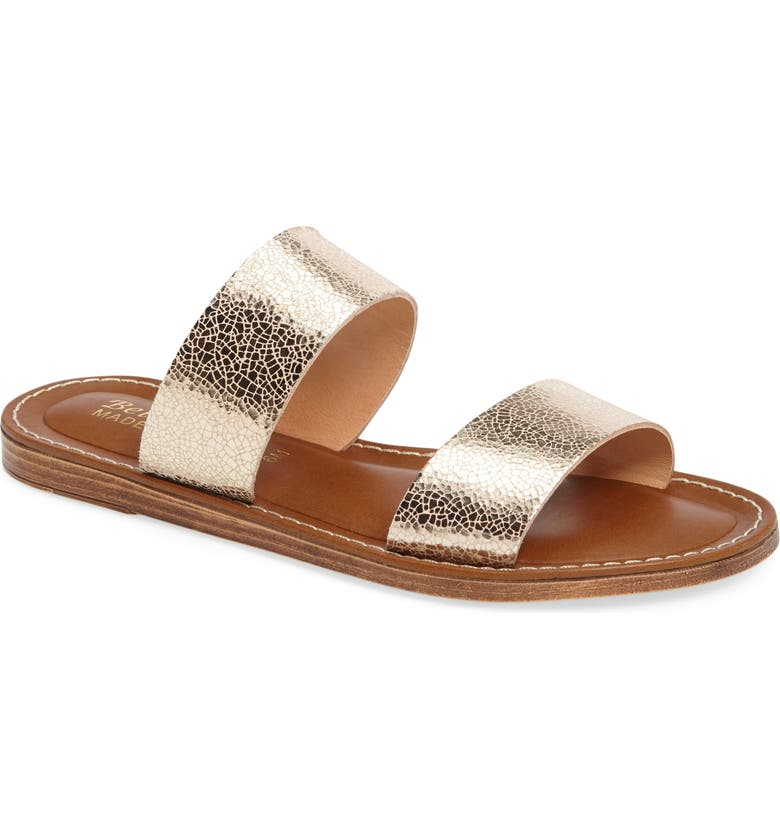 BELLA VITA Imo Slide Sandal, Main, color, GOLD LEATHER