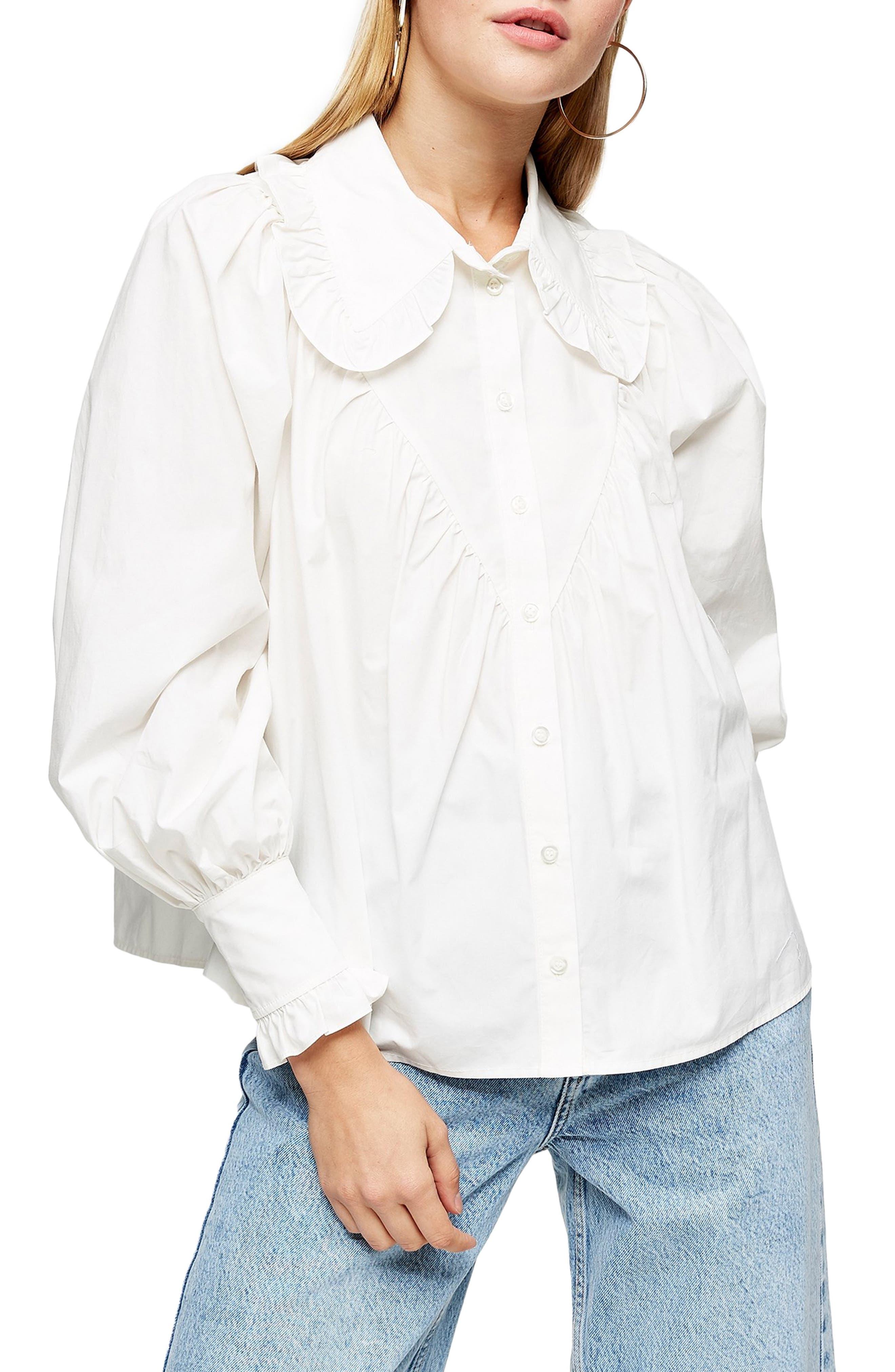 Edwardian Blouses | White & Black Lace Blouses & Sweaters Womens Topshop Ruffle Collar Poplin Blouse $58.00 AT vintagedancer.com
