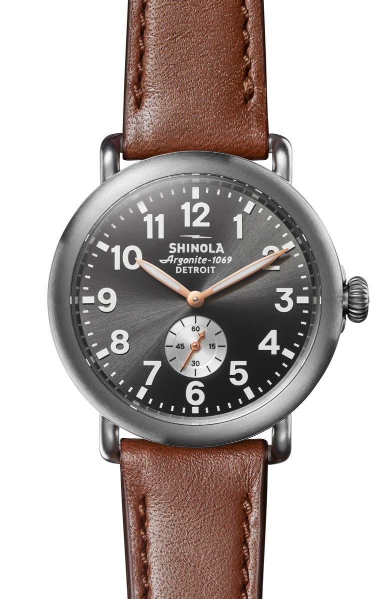 SHINOLA 'The Runwell' Leather Strap Watch, 41mm, Main, color, DARK COGNAC/ GUNMETAL/ GREY