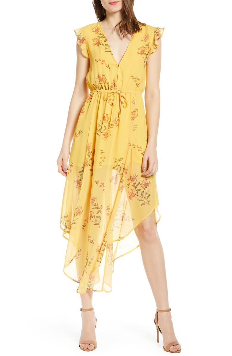 LEITH Floral Plunge Neck Handkerchief Hem Dress, Main, color, YELLOW DANDY STEMS