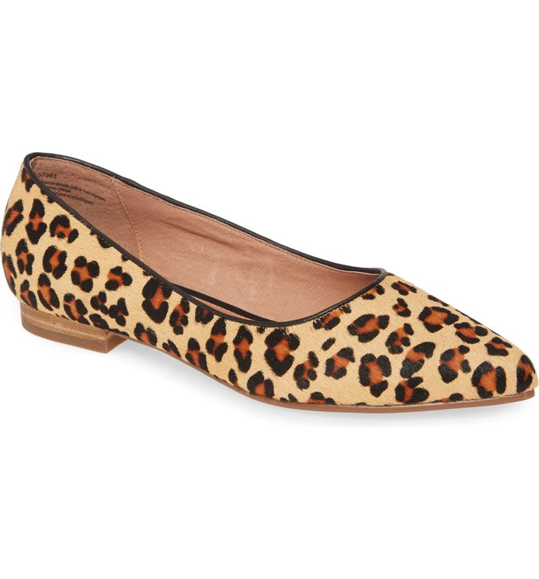 CASLON<SUP>®</SUP> Luna Pointy Toe Flat, Main, color, CHOCOLATE LEOPARD CALF HAIR