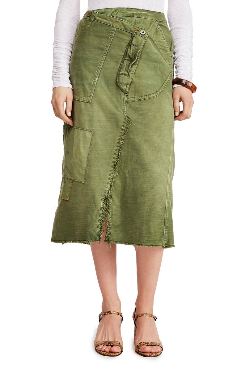 FREE PEOPLE Echo Cotton Twill Skirt, Main, color, MOSS