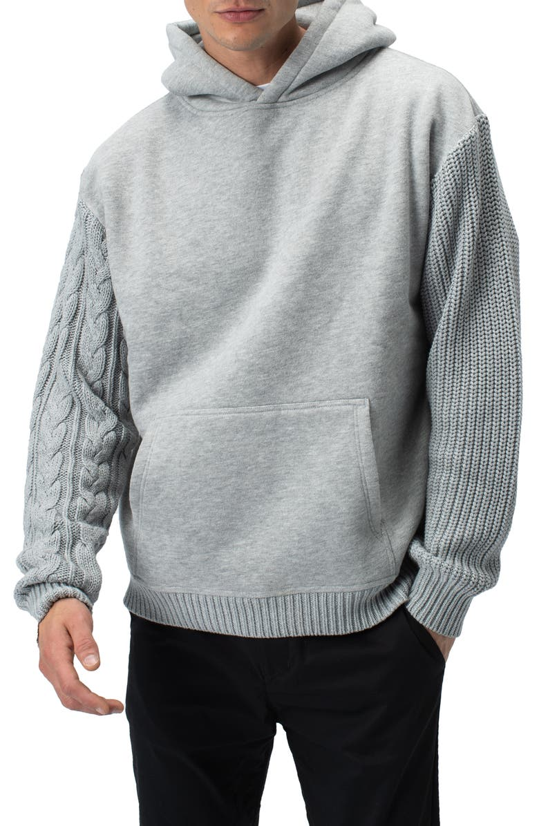 ZANEROBE Cable Mix Media Hoodie, Main, color, SILVER MARLE