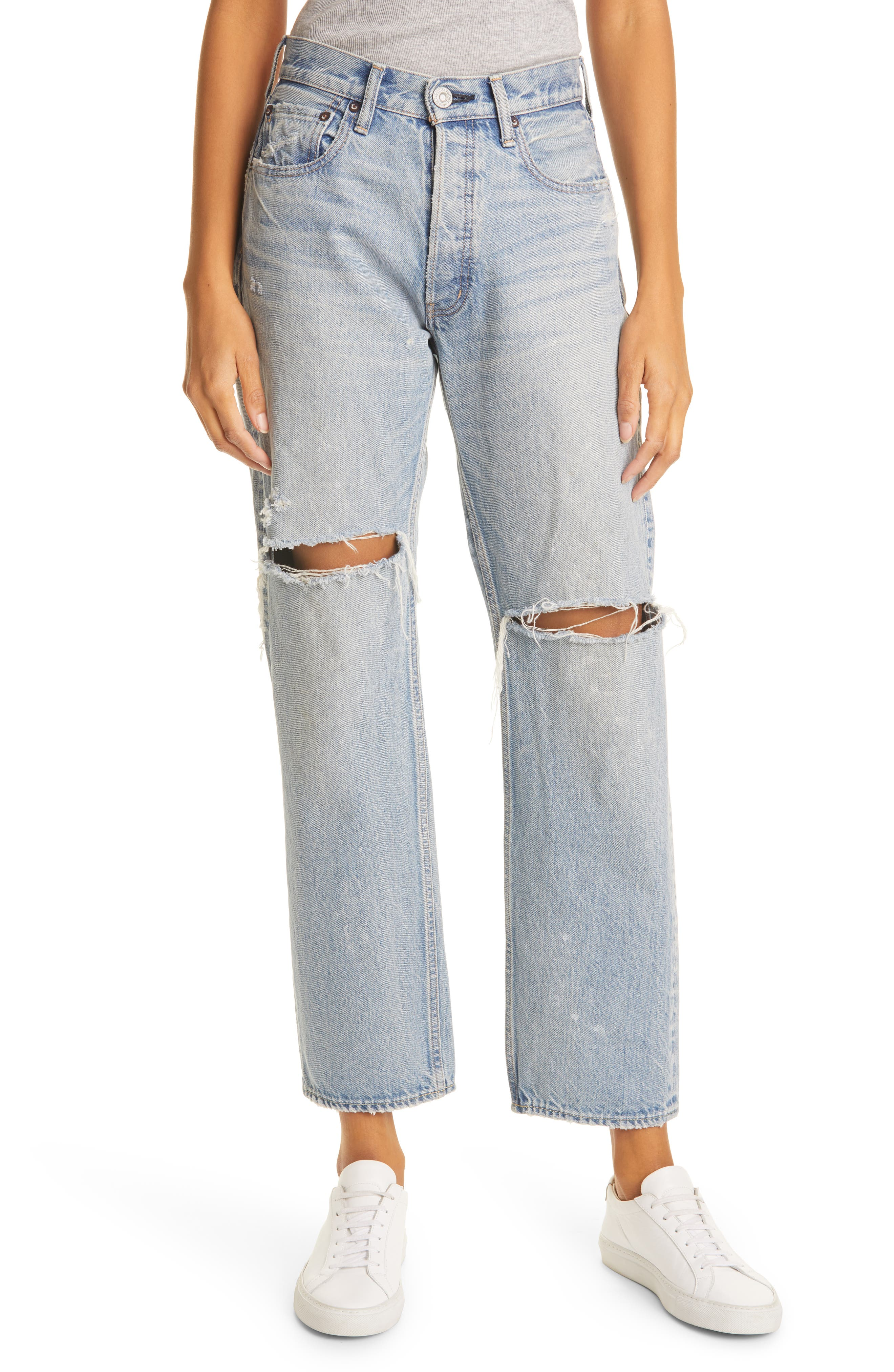 Teaneck Ripped Wide Straight Leg Jeans
