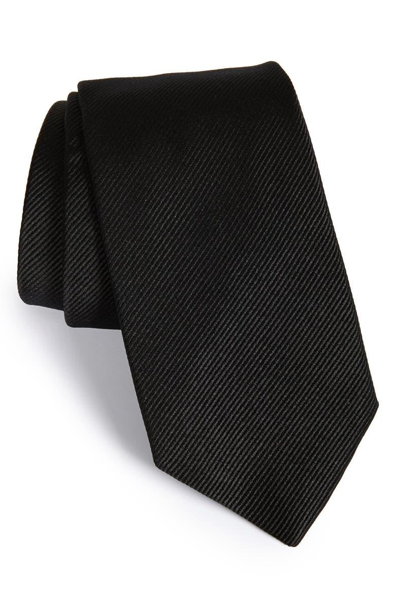 GITMAN Solid Silk Tie, Main, color, 001