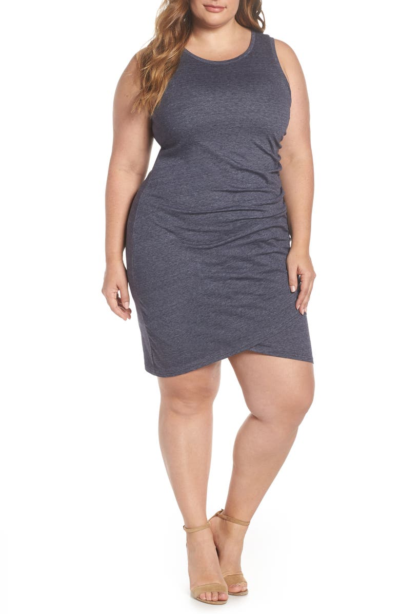 LEITH Ruched Sheath Dress, Main, color, NAVY NIGHT HEATHER