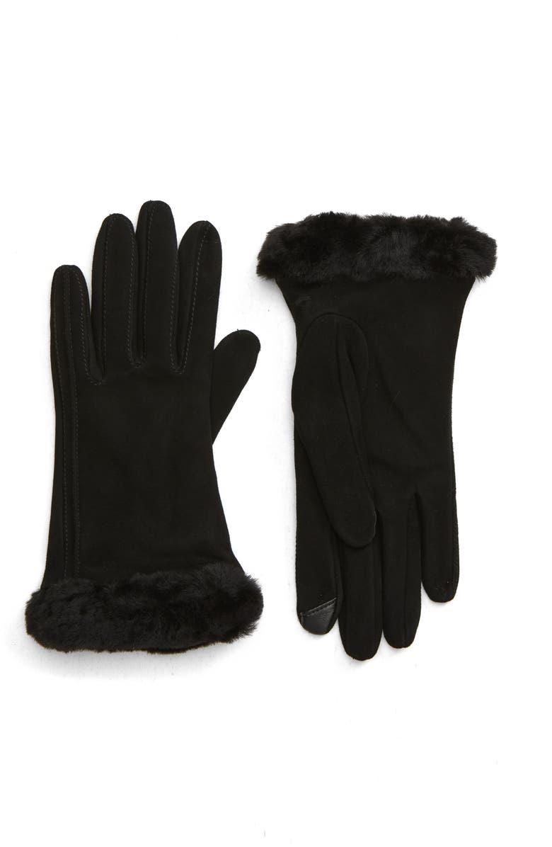 UGG<SUP>®</SUP> Genuine Shearling Trim Suede Tech Gloves, Main, color, BLACK