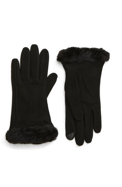 Ugg Genuine Shearling Trim Suede Tech Gloves In Black