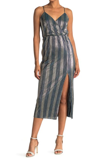 Image of Lush Metallic Stripe Sleeveless Slit Midi Dress