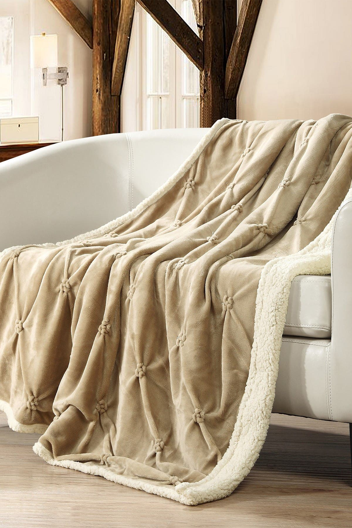 Image of Chic Home Bedding Caracas Pinch Pleated Faux Shearling Lined Throw Blanket - Beige
