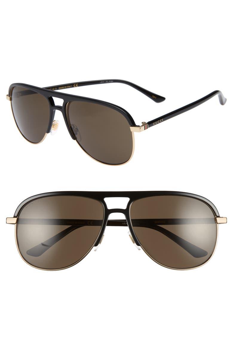 GUCCI 60mm Aviator Sunglasses, Main, color, 001