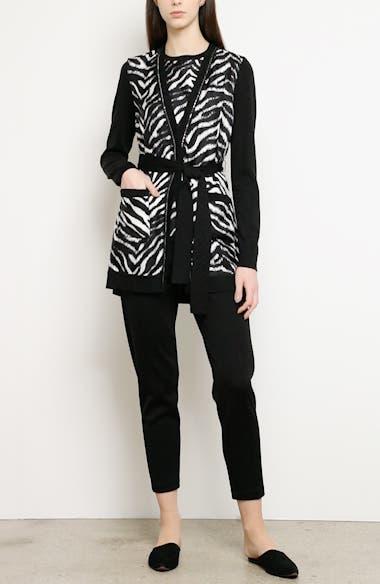 Zebra Print Fine Gauge Jersey Cardigan, video thumbnail