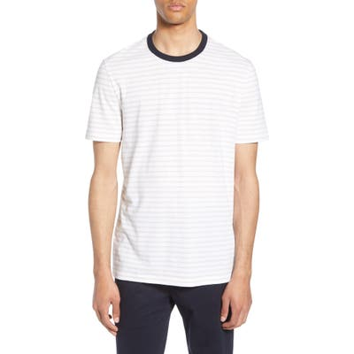 Boss Tiburt Regular Fit Stripe Linen Blend T-Shirt, White