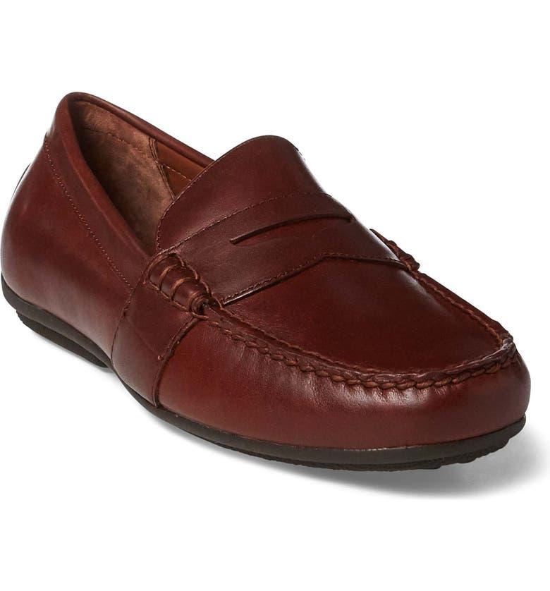 POLO RALPH LAUREN Reynold Driving Shoe, Main, color, DEEP SADDLE TAN LEATHER