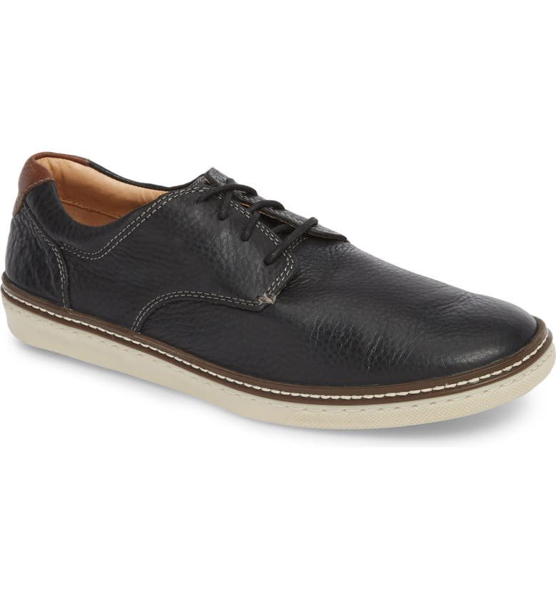 JOHNSTON & MURPHY McGuffey Plain Toe Sneaker, Main, color, BLACK LEATHER