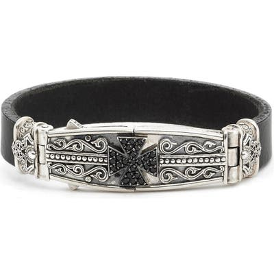 Konstantino Plato Maltese Cross Leather Bracelet