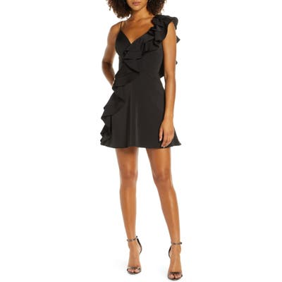 MAC Duggal One-Side Ruffle Party Dress, Black
