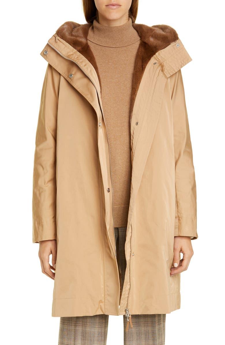 LAFAYETTE 148 NEW YORK Sinclair Couture Cloth Coat with Genuine Mink Fur Trim, Main, color, GOLD