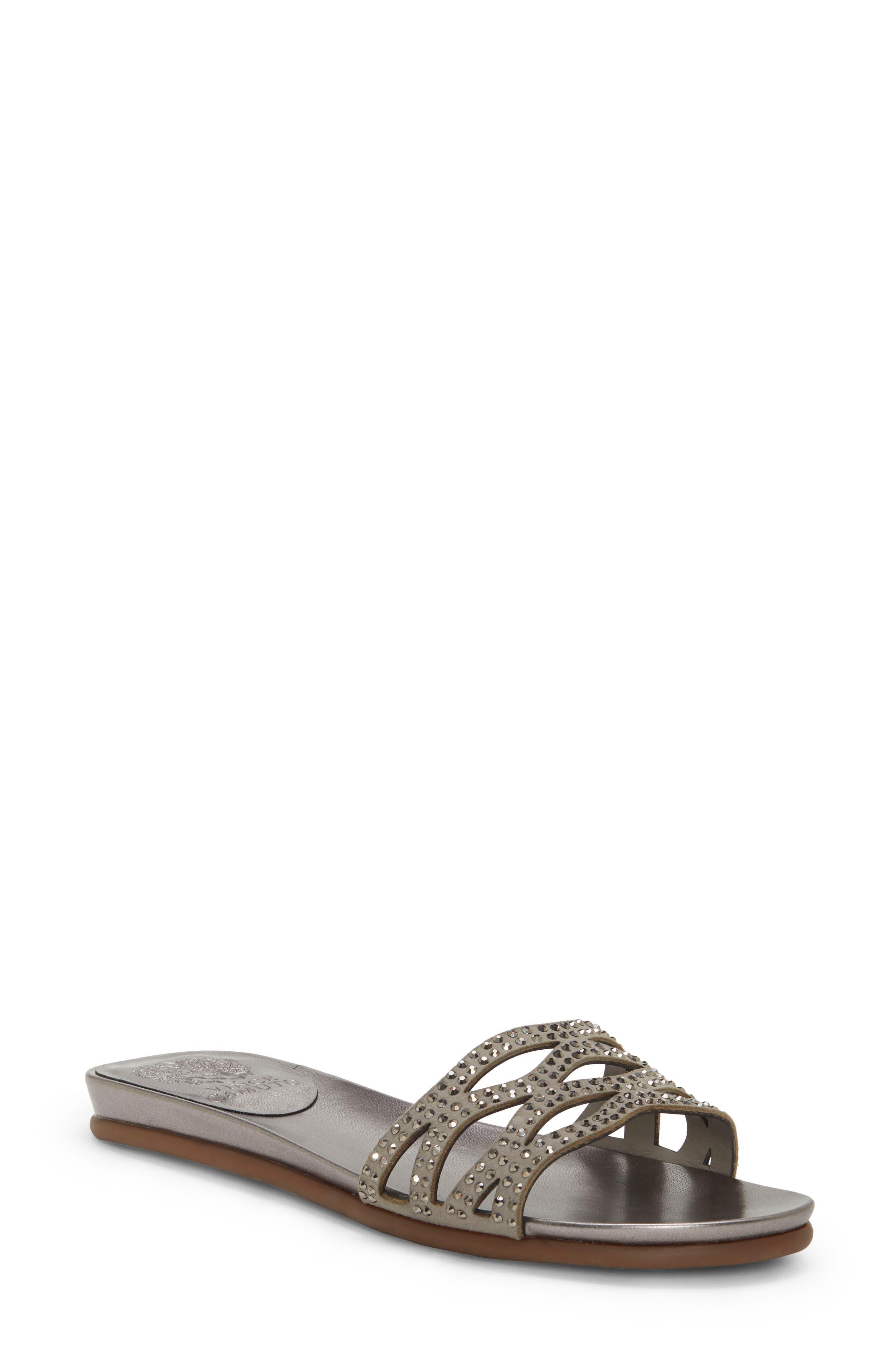 Vince Camuto Empiana Crystal Embellished Slide Sandal- Grey