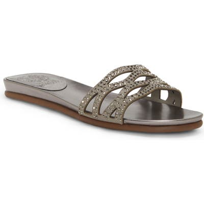 Vince Camuto Empiana Crystal Embellished Slide Sandal- Grey