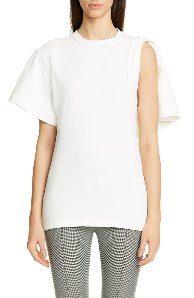 ALEXANDER WANG Draped Short Sleeve Tricot Tee, Main, color, 100