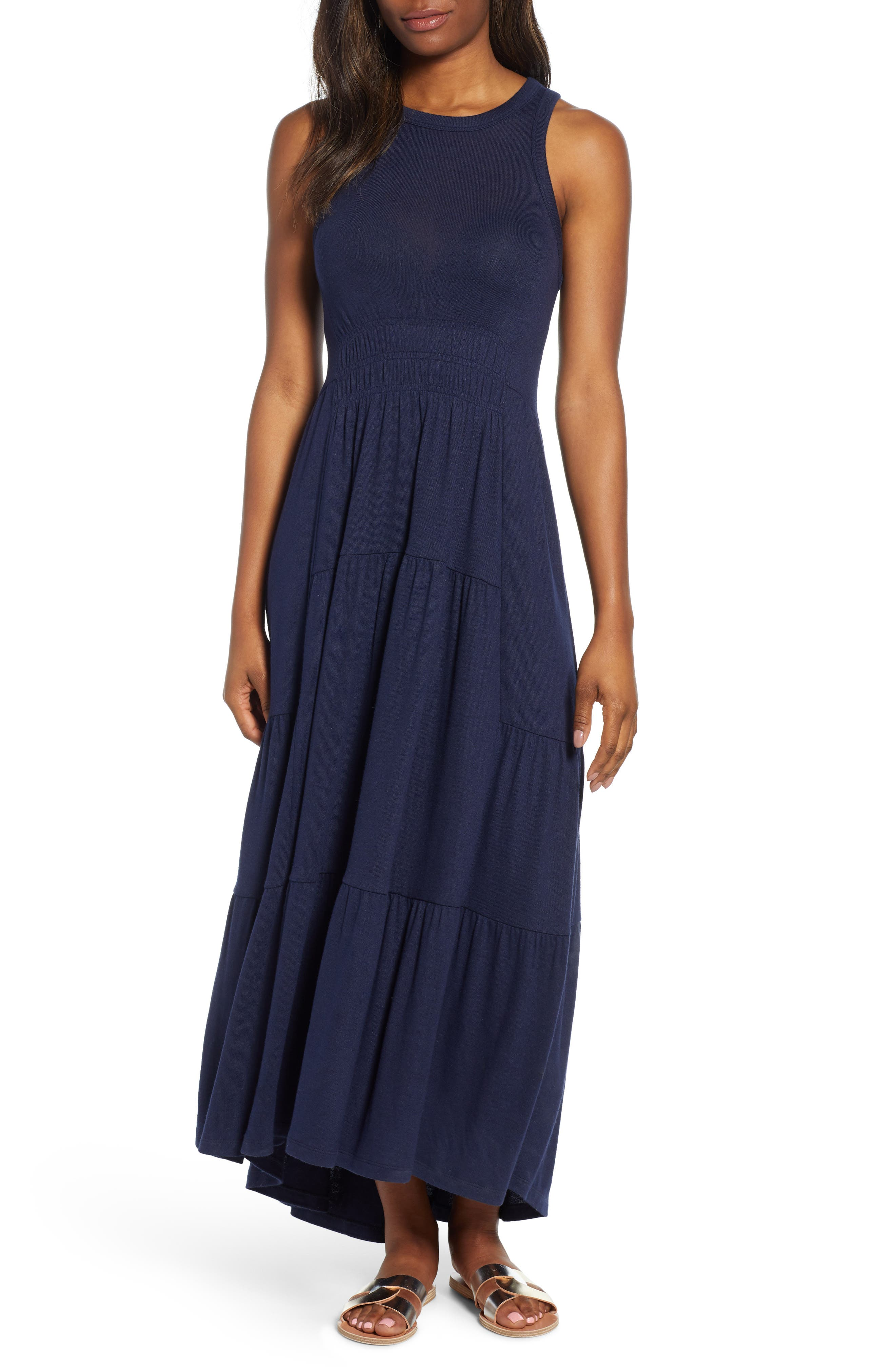 Lucky Brand Smocked Linen Blend Dress, Blue