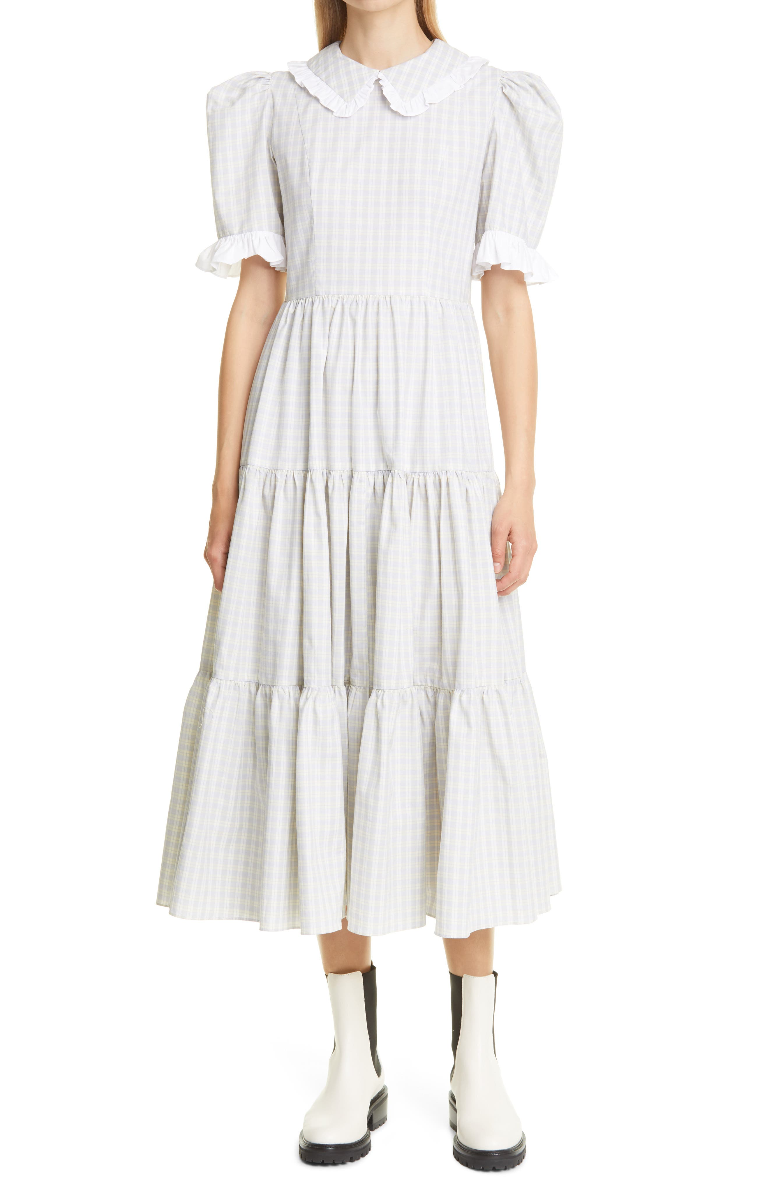 Lucy Check Tiered Midi Dress