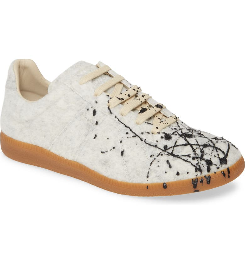 MAISON MARGIELA MM6 Maison Margiela Replica Low Top Sneaker, Main, color, WHITE FELT/ BLACK PAINT