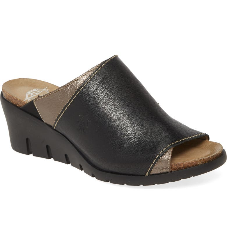 FLY LONDON Idar Wedge Slide Sandal, Main, color, BLACK/ BRONZE LEATHER
