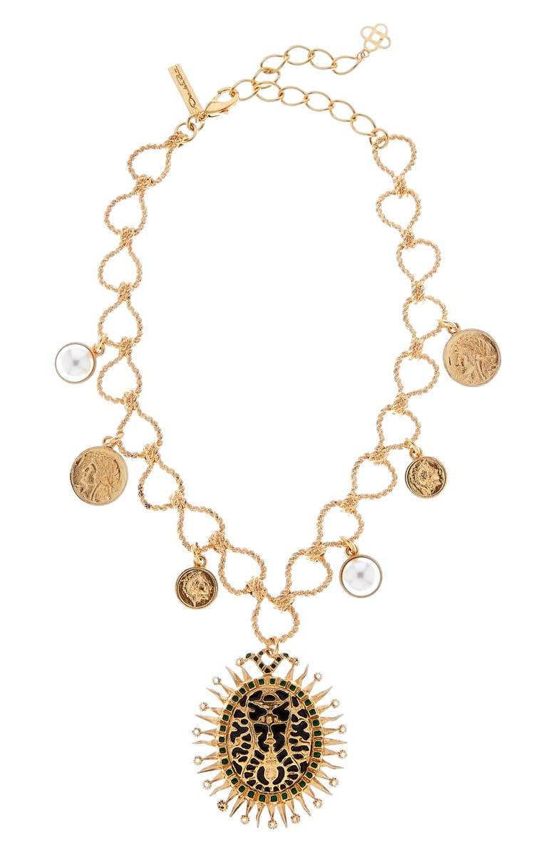 OSCAR DE LA RENTA Medallion Pendant Necklace, Main, color, 001