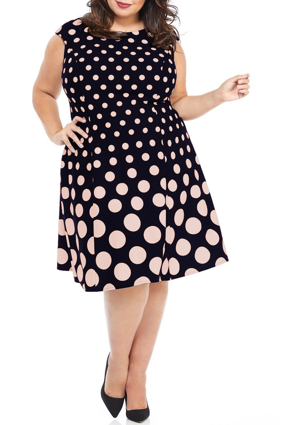 Image of London Times Polka Dot Fit & Flare Dress