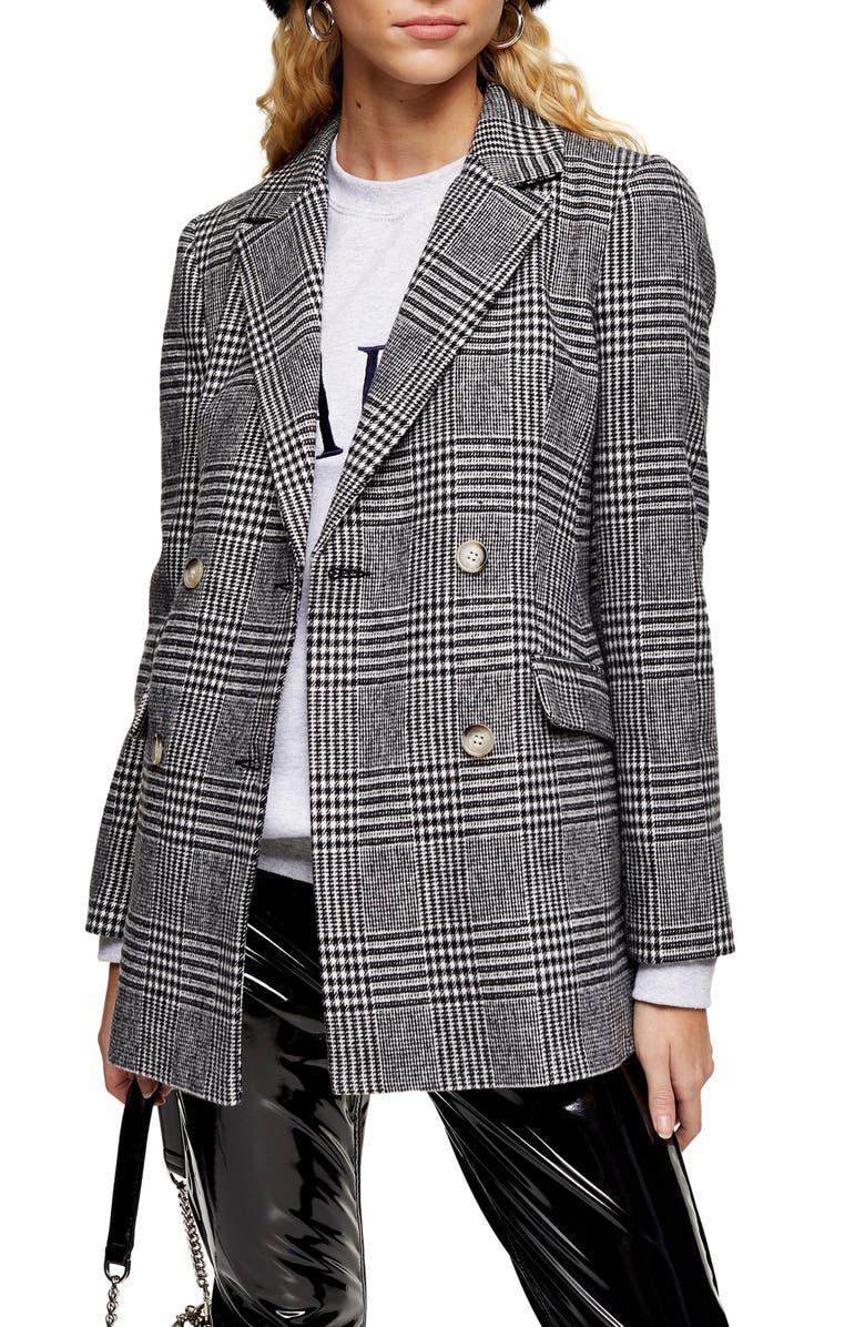TOPSHOP Monochrome Check Blazer, Main, color, BLACK MULTI