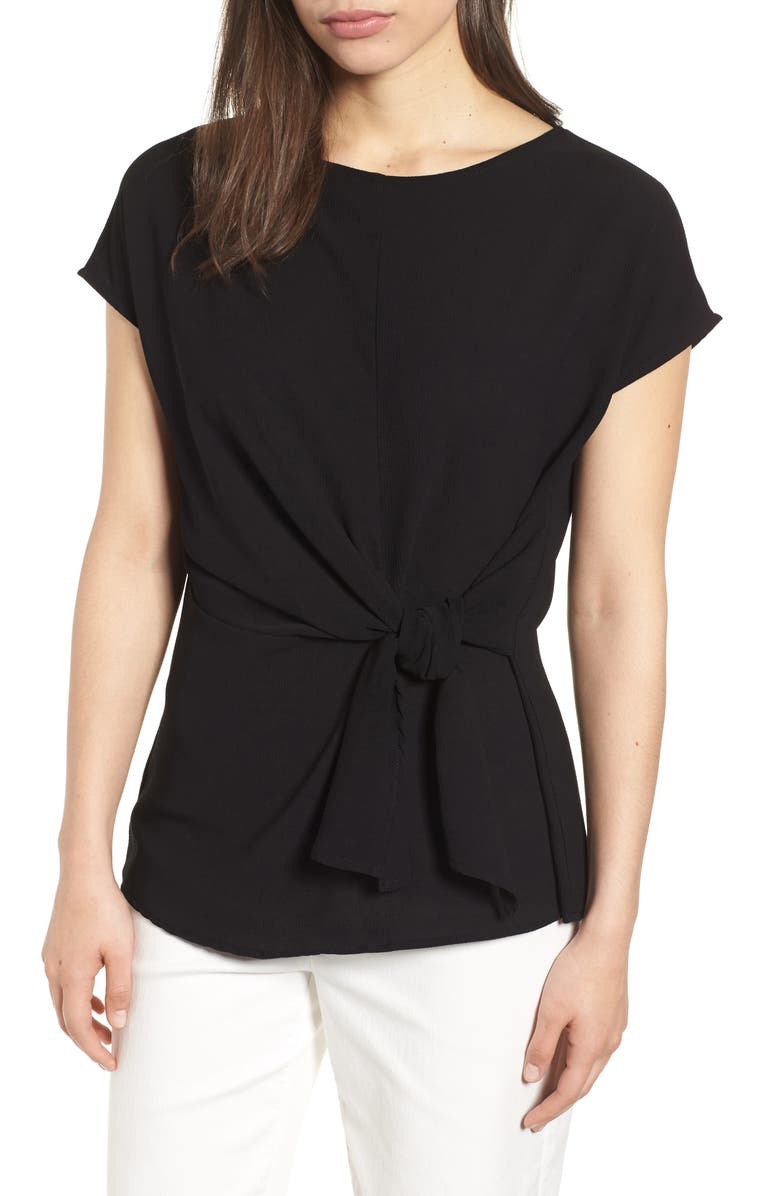 GIBSON Tie Front Blouse, Main, color, 001