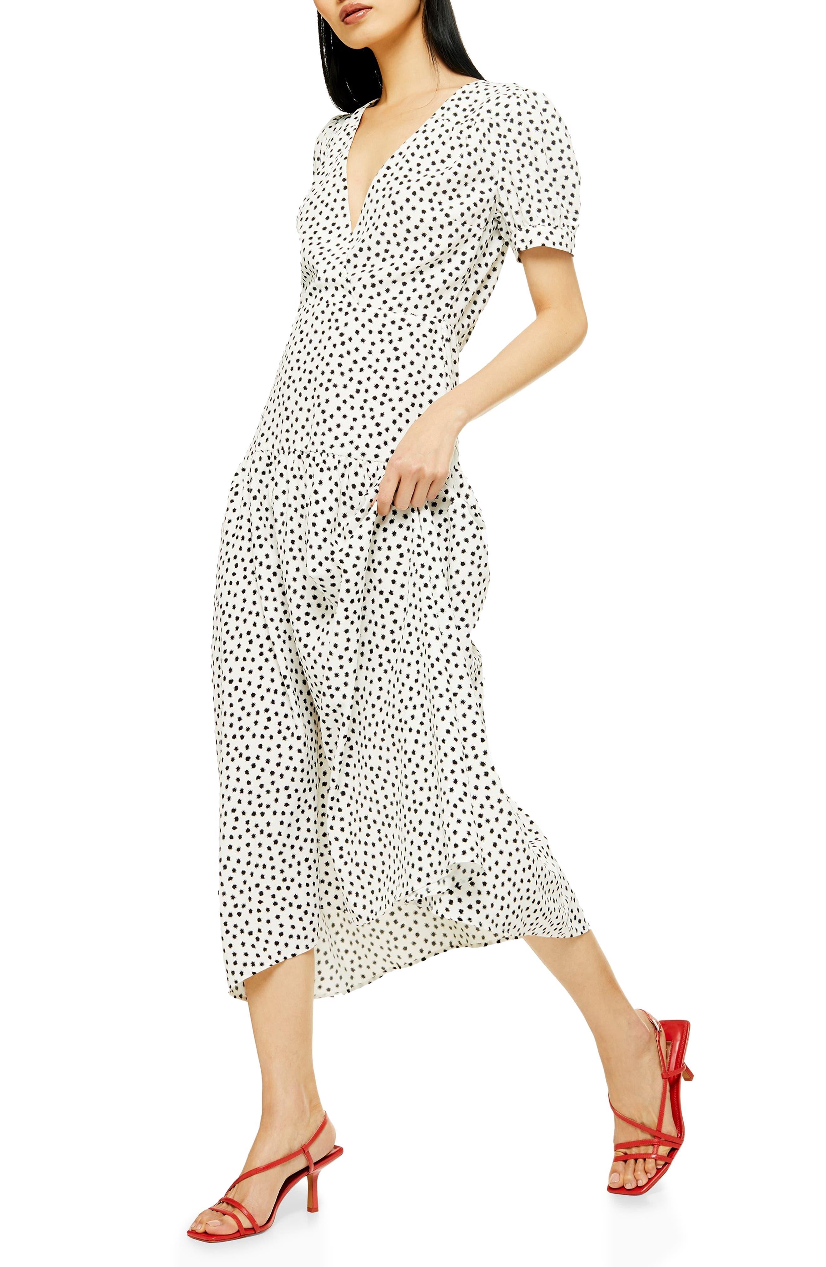Topshop Starlight Spot Print Midi Dress, US (fits like 0) - White