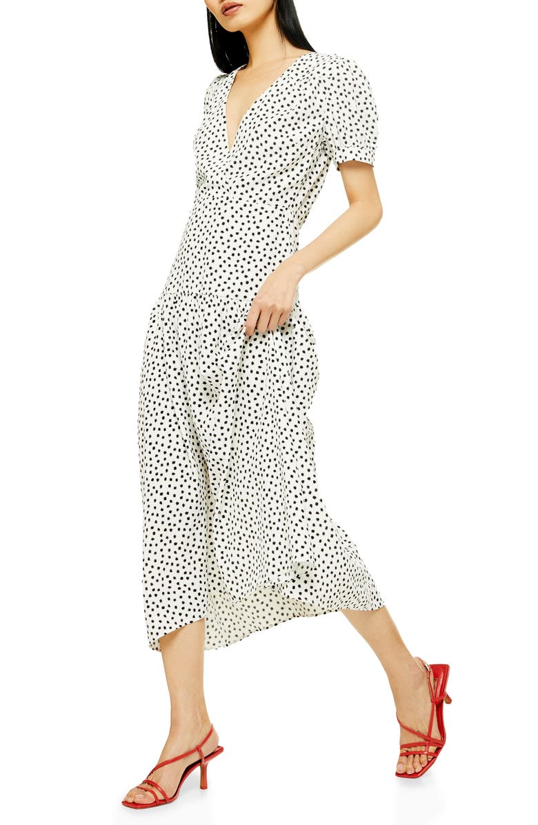TOPSHOP Starlight Spot Print Midi Dress, Main, color, WHITE MULTI
