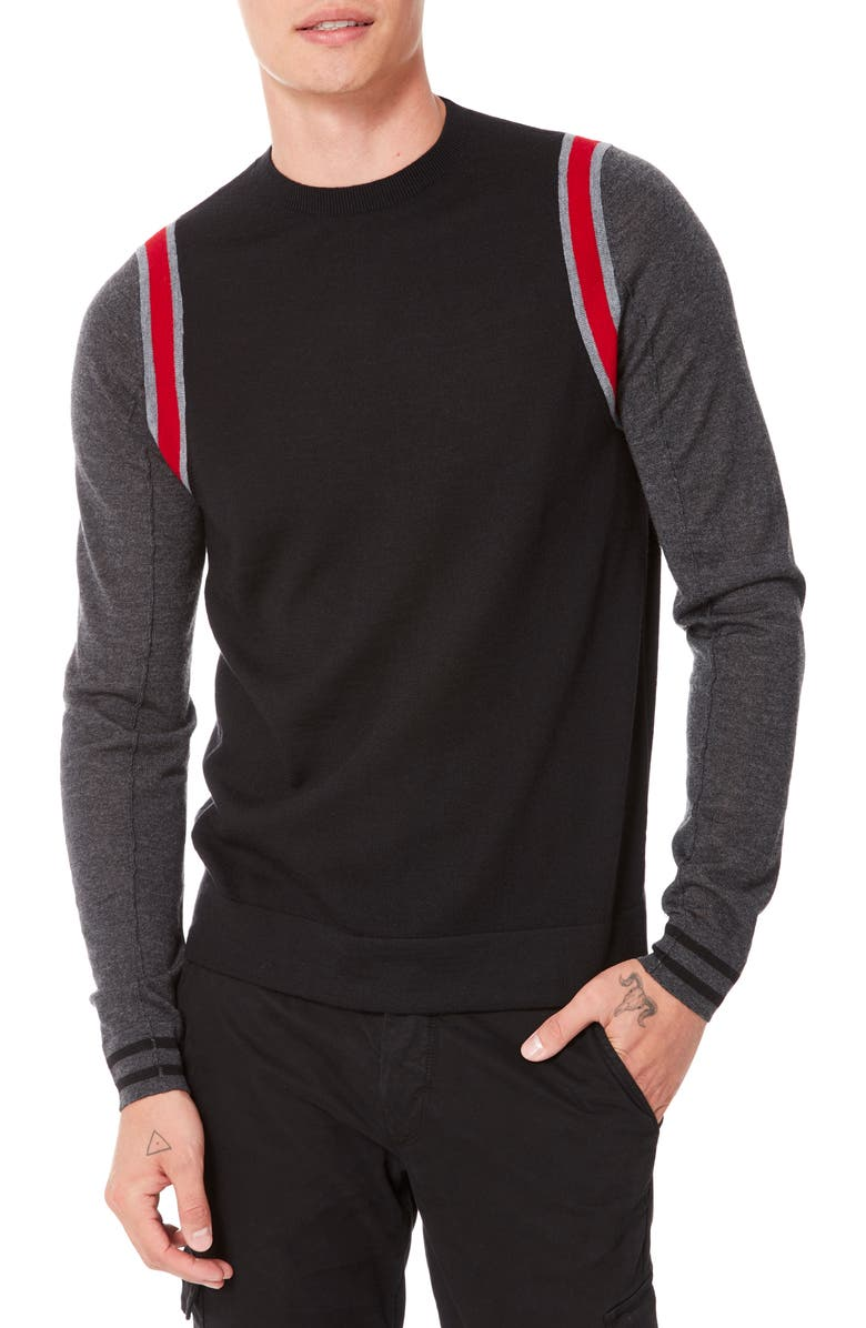 GOOD MAN BRAND MVP Slim Fit Colorblock Wool Sweater, Main, color, RED