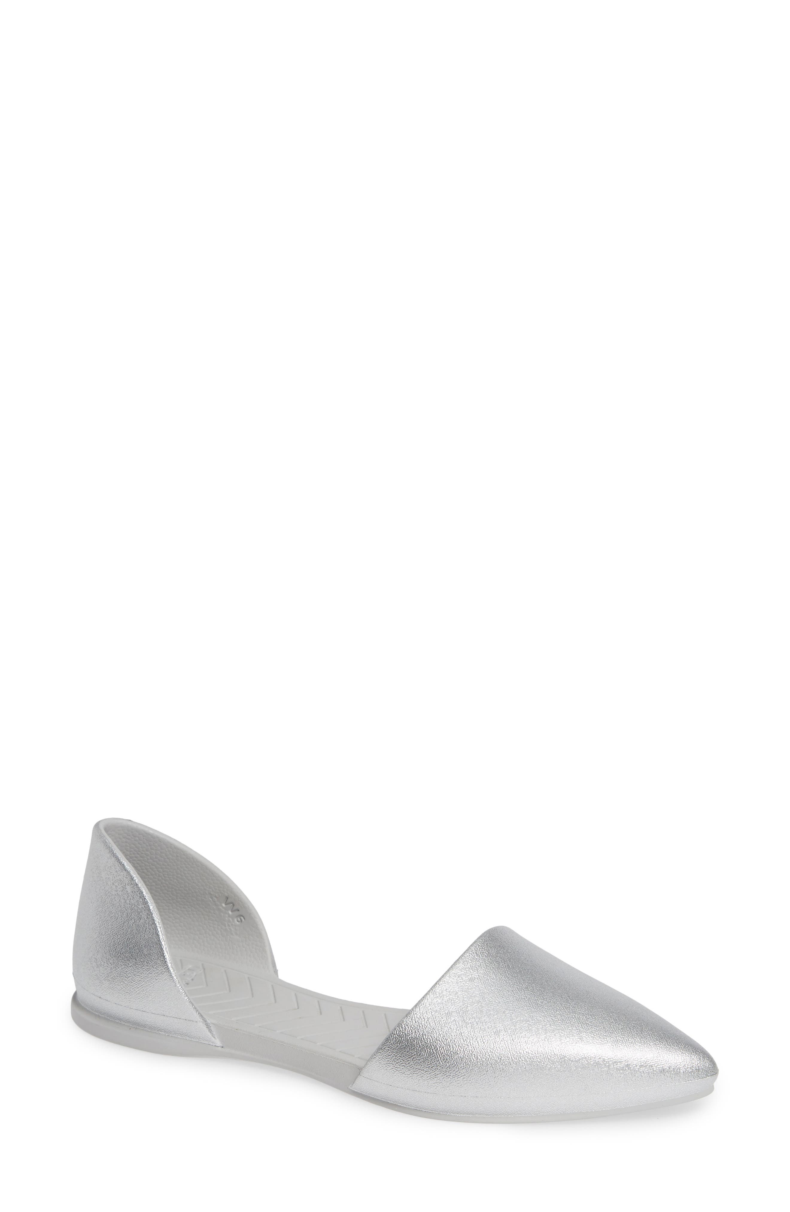 Audrey Vegan Open Sided Flat, Main, color, SILVER METALLIC