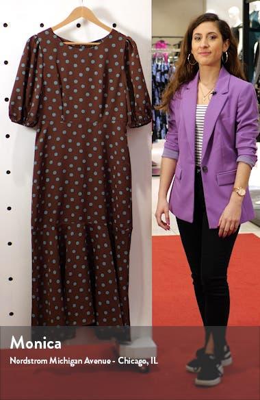 Dara Puff Sleeve Ruffle Hem Midi Dress, sales video thumbnail