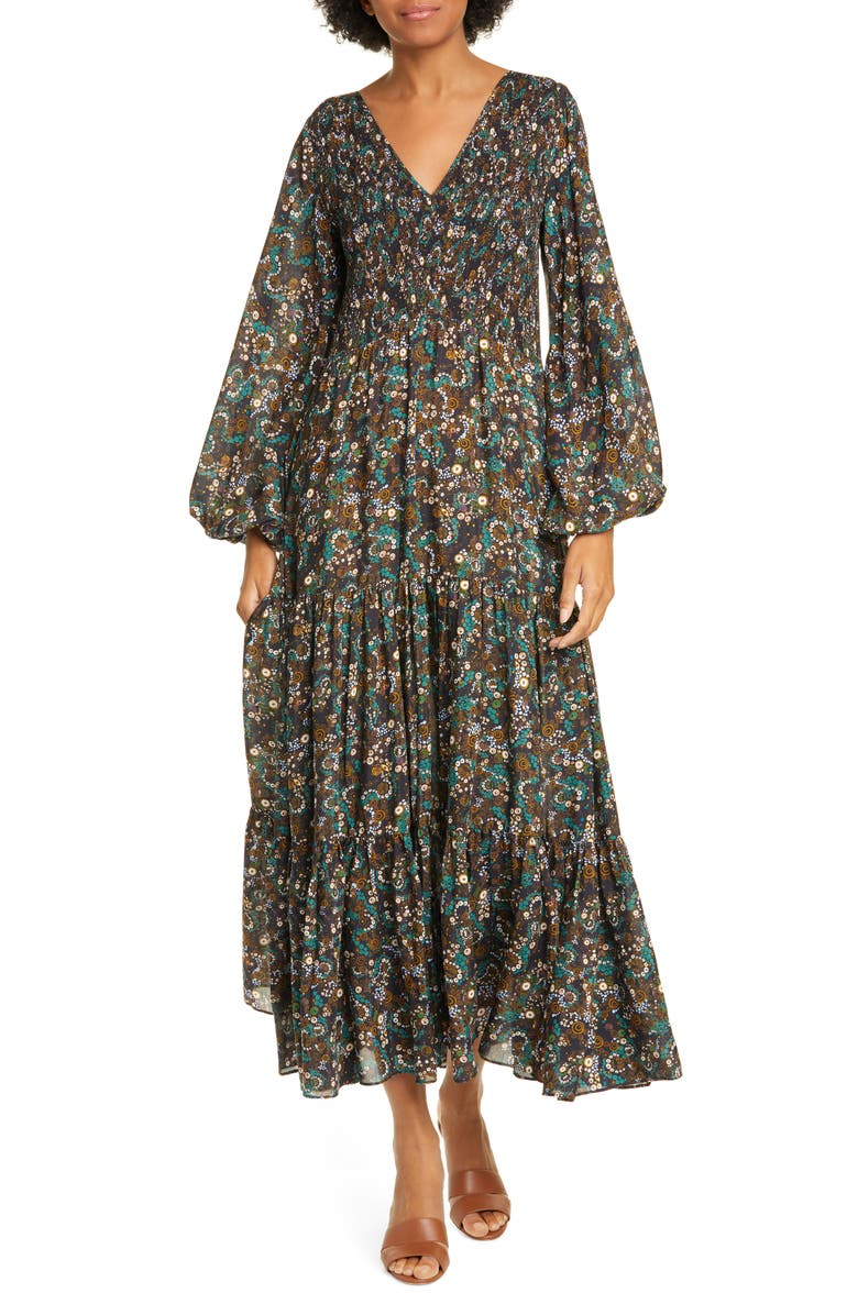 RIXO Brooke Smocked Long Sleeve Maxi Dress, Main, color, KLIMT WAVE STRIPE