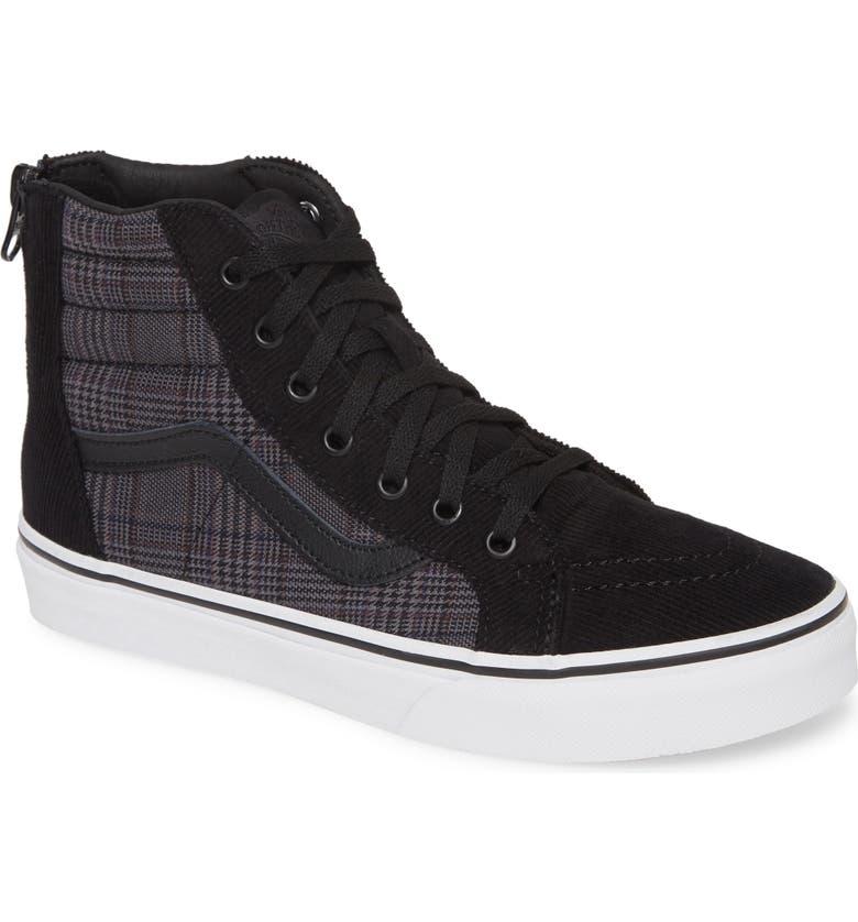 VANS Sk8-Hi Zip Sneaker, Main, color, BLACK/ WHITE