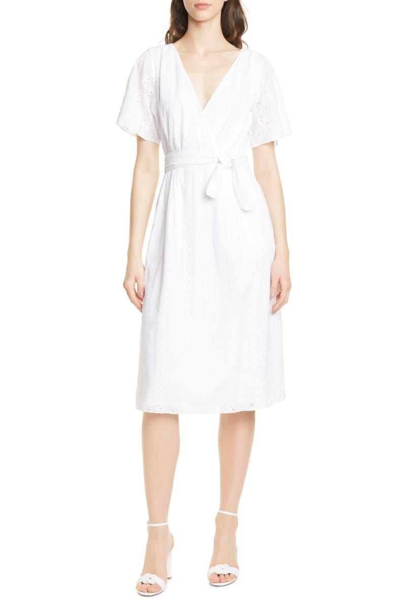 JOIE Azariah Eyelet Wrap Dress, Main, color, 110