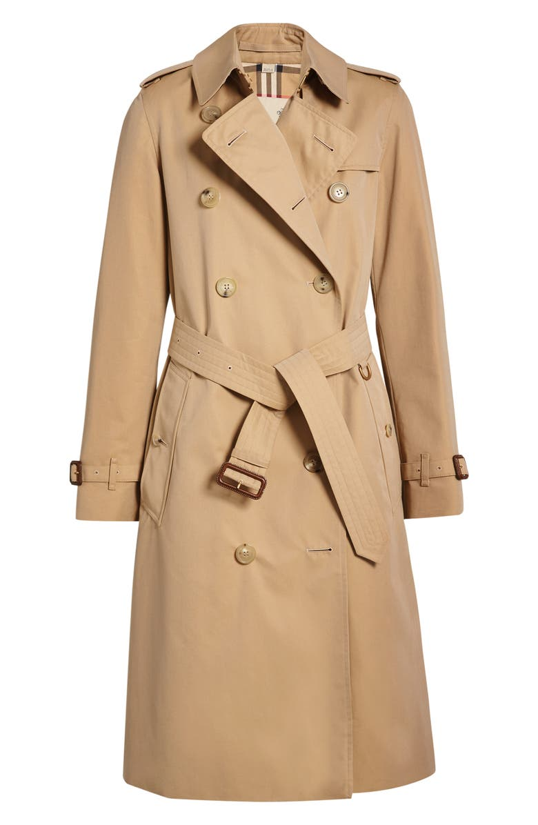BURBERRY Kensington Long Trench Coat, Alternate, color, DARK HONEY