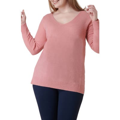 Plus Size Maree Pour Toi Wool & Cashmere Sweater, Pink