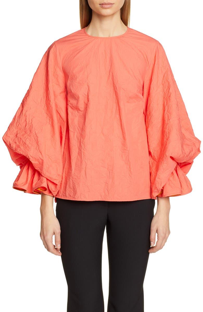 ROKSANDA Puff Sleeve Crinkle Cotton Top, Main, color, 950
