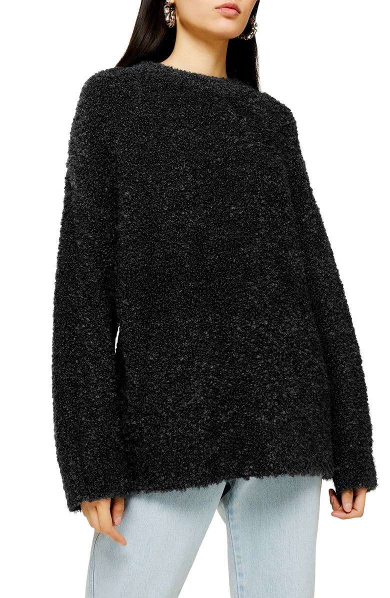 TOPSHOP Longline Bouclé Sweater, Main, color, CHARCOAL