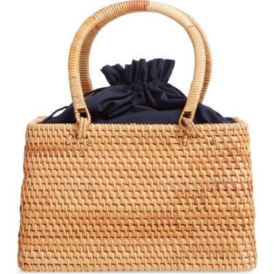 Knotty Large Rattan Top Handle Bag - Beige