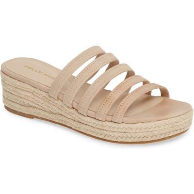 Pelle Moda Selby Strappy Platform Slide Sandal, Beige