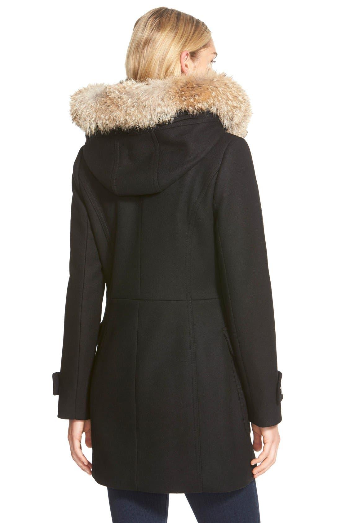 ,                             Genuine Coyote Fur Trim Wool Blend Duffle Coat,                             Alternate thumbnail 6, color,                             002