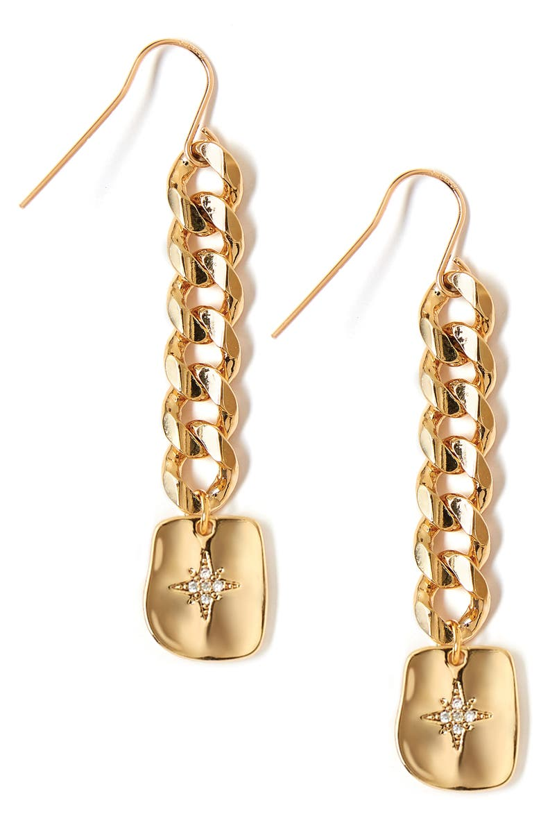 TESS + TRICIA Textured Star Drop Earrings, Main, color, GOLD