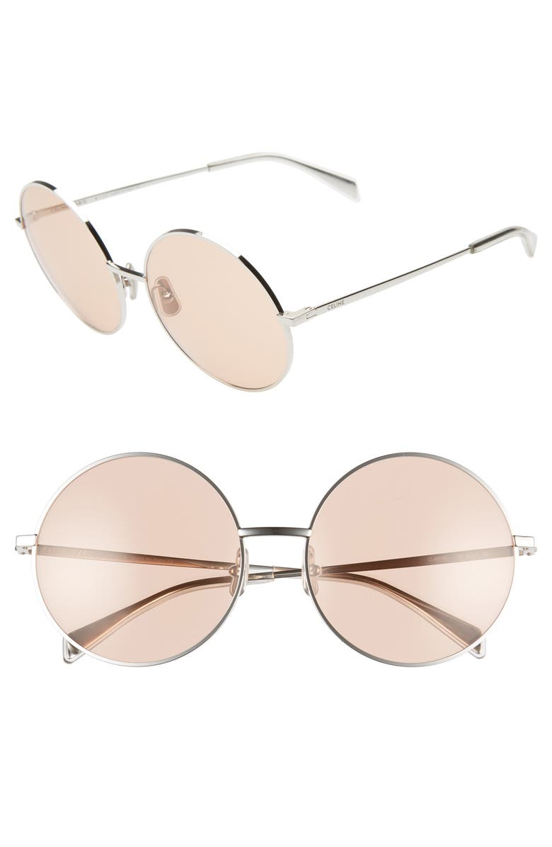 CELINE 61mm Round Sunglasses, Main, color, 040